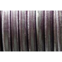Cuero oval 10x6 mm ( cuero regaliz) color lila metalizado, 20 cm
