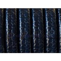 Cuero oval 10x6 mm ( cuero regaliz) grabado flores azul , 20 cm