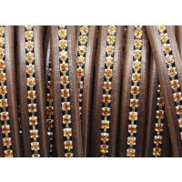Cuero oval 10x6 mm ( regaliz) marronn osc Strass ambar (20 cm)