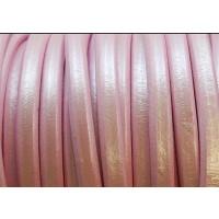 Cuero oval 10x6 mm ( cuero regaliz) color rosa bebe metalizado