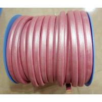 Cuero oval 10x6 mm ( cuero regaliz) color rosa  metalizado