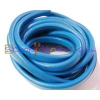 Cuero oval 10x6 mm ( regaliz) azul ducados, 20 cm