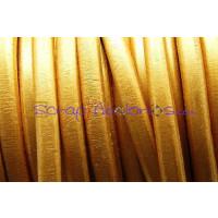 Cuero oval 10x6 mm( regaliz) dorado metalizado (20 cm)
