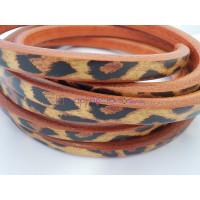 Cuero oval 10x6 mm( regaliz) estampado leopardo (20 cm)