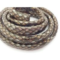 Cuero oval 10x6 mm( regaliz)  serpiente marrón (20 cm)