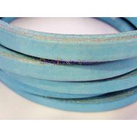 Cuero oval HUECO  10x6 mm ( cuero regaliz) color azul , 20 cm
