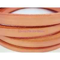 Cuero oval HUECO  10x6 mm ( cuero regaliz) color rosa , 20 cm