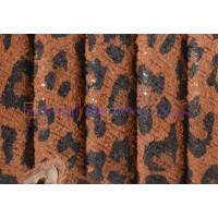 Cuero oval HUECO  10x6 mm( cuero regaliz) serraje Leopardo 20 cm