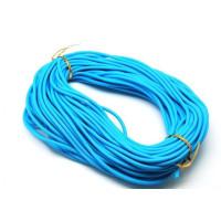 Cordón caucho hueco 4 mm.Azul turquesa.Int.1,8 mm apr ( 1 metro)