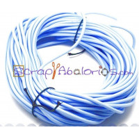 Cordón caucho hueco 4 mm.Azul celeste.Int.1,8 mm apr ( 1 metro)