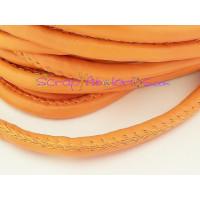 Cordón simil cuero redondo cosido naranja 5 mm (20 cm