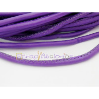 Cordón simil cuero redondo cosido violeta 5 mm (20 cm