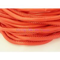 Cordón simil cuero redondo cosido rojo 5 mm (20 cm