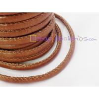 Cordón simil cuero redondo cosido marrón 5 mm (20 cm