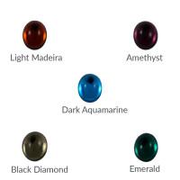 Cristal ovalado 8x6 mm para piezas de zamak - Dark Aquamarine