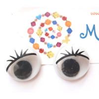 Ojos redondos con pestañas 12 mm ( 20 uds)