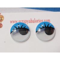 Ojo redondo azul con pestañas 15 mm ( 20 uds)