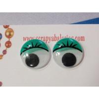 Ojo redondo verde con pestañas 15 mm ( 20 uds)