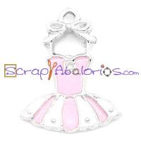 Colgante enamel tutu ballet rosa 21x16 mm