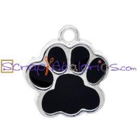 Colgante enamel huella gato o perro negra 18x17 mm