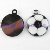 Colgante enamel balon de futbol 23x19 mm ( blanco/negro