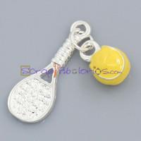 Colgante enamel raqueta y pelota tenis 25x9 mm