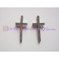 Cruz bronce con rhinestones o strass cristal 50x23 mm
