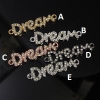 Conector DREAM plateado con strass/rhinestones cristal 40x10 mm