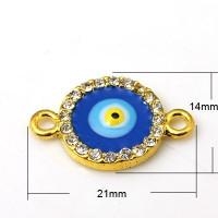 Entrepieza Strass conectora ojo de fatima dorada 21x14 mm