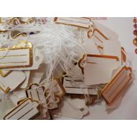 Etiquetas pequeñas rectangular dorada precios 22x10 mm- 100 uds