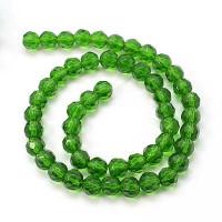 Facetada cristal 6 mm color verde hilera  (50 uds)