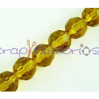 Facetada cristal 8 mm color amarillo oro hilera 35 cm ( 40 uds)
