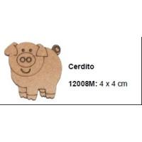 Maderitas- Silueta DM 2.5 mm grueso- Cerdito 4x4 cm