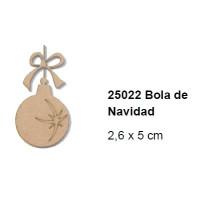 Maderitas- Silueta DM 2.5 mm grueso- Bola Navidad 2.6x5 cm