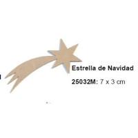 Maderitas- Silueta DM 2.5 mm grueso- Estrella de Navidad 7x3 cm