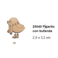Maderitas- Silueta DM 2.5 mm grueso- Pajarito con bufanda