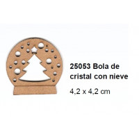 Maderitas- Silueta DM 2.5 mm grueso- Bola con arbol y nieve
