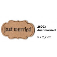 Maderitas- Silueta DM 2.5 mm grueso- Just Married 5x2.7 cm