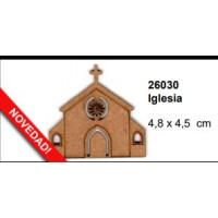 Maderitas- Silueta DM 2.5 mm grueso- Iglesia 4.8x4.5cm