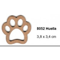 Maderitas- Silueta DM 2.5 mm grueso- Huella mascota 3.8x3.4 cm