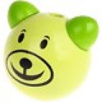 Figurita 3D madera PREMIUM- Osito sonrisa 25 mm - Verde