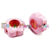 Figurita de madera PREMIUM- Flor hueca 29x12 mm - Rosa bebe 02