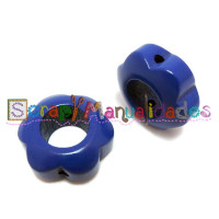 Figurita de madera PREMIUM- Flor hueca 29x12 mm-  Azul marino 21