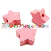 Figurita de madera PREMIUM- Estrella 18x18 mm - Rosa claro 03