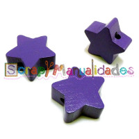 Figurita de madera PREMIUM- Estrella 18x18 mm - Morado 07