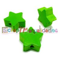 Figurita de madera PREMIUM- Estrella 18x18 mm - Verde lima 16