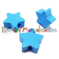 Figurita de madera PREMIUM- Estrella 18x18 mm - Azul cielo 19