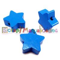 Figurita de madera PREMIUM- Estrella 18x18 mm - Azul 20