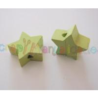 Figurita de madera PREMIUM- Estrella 18x18 mm - Verde limon 26