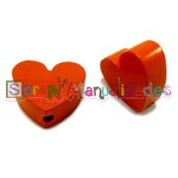 Figurita madera PREMIUM- Corazon picudito 20x18 mm- Mandarina 12